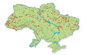 Карта поширення мнемозина в україні